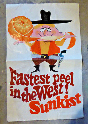 "VINTAGE 1960-70's SUNKIST ORANGE ""FASTEST PEEL IN THE WEST!"" COWBOY POSTER~RARE!"
