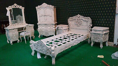 UK STOCK 3' Single size Antique White French  Rococo Bed carved mahogany wood