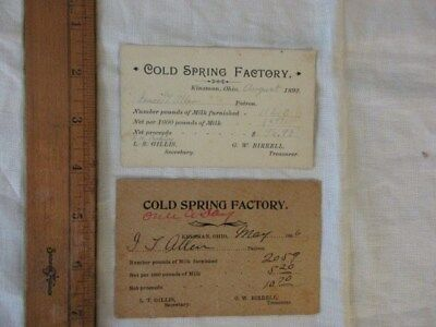 Kinsman, Ohio Dairy Milk Receipts Cold Spring - Isaac Allen 1892 & 1896
