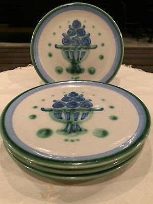 "Bouquet By M.A Hadley 6 1/4"" Bread & Butter Or Dessert Plates Blueberry Set Of 4"