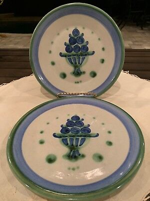 "Bouquet By M.A. HADLEY Pottery Blueberries Lunch Salad 2 Plates 7.75"" Signed"