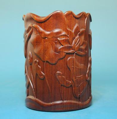 chinese old   hand engraving annatto lotus pencil vase d02