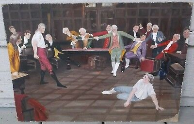 Antique 19Th Century O/b Of An 18Th Century Courtroom Scene/mystery Artist