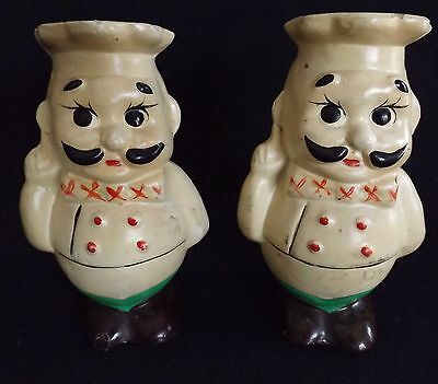 Vintage Retro Pair Salt and Pepper Shakers  Chef  ceramic
