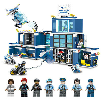 2in1 City Police Station Model Building Blocks with cop Figures Helicopter Toys