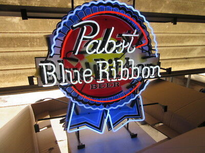 New Pabst Blue Ribbon Neon Beer Sign Light Up In Box Bar Tavern Rec Room Mancave
