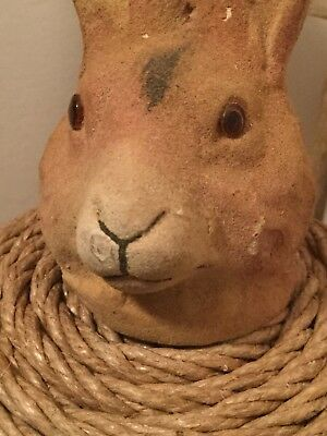 "Large 7"" Early 1900's German Rabbit Candy Container Glass Eyes Flocked Compo"