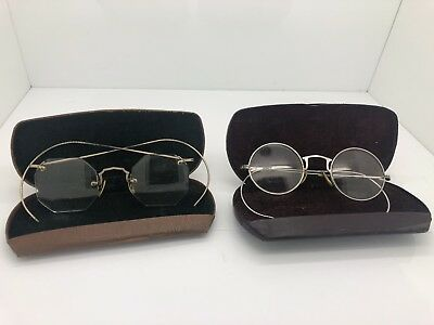 2 Pairs Antique Bausch & Lomb 1/10 12k Gold Filled One Rimless Wire Eye Glasses