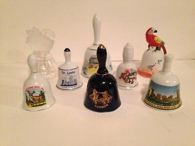 Lot of 8 Collectible Porcelain Bells