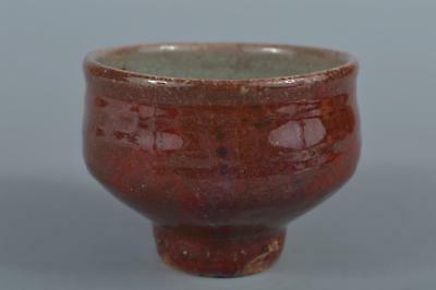 R6013: Japanese Mashiko-ware Cinnabar glaze TEA BOWL Green tea tool Tea Ceremony