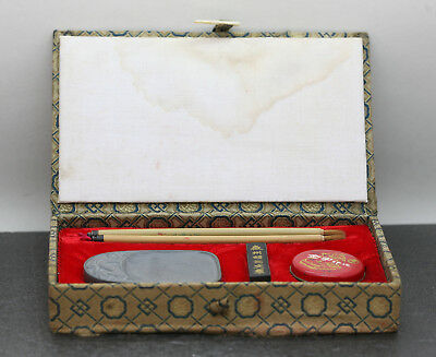Vintage Complete Set Of Chinese Calligraphy w/ Ink Stone Brushes Seal Box & Ink