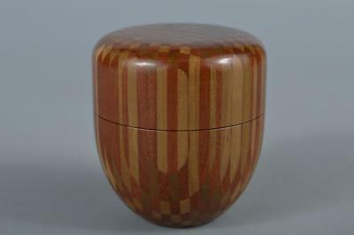 R6036: Japanese Wooden Parquet TEA CADDY Chaire Container TEA CADDY Natsume