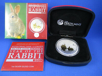 2011 $1 1oz Silver Coin - LUNAR YEAR OF THE RABBIT - GILDED EDITION - PERTH MINT