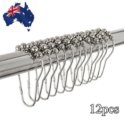 12pcs Shower Curtain Rings Hooks Rustproof Stainless Steel for Bathroom Shower