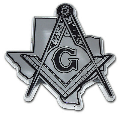 TEXAS MASON DETAILED CHROME METAL AUTO EMBLEM car truck decal Freemason Masonic