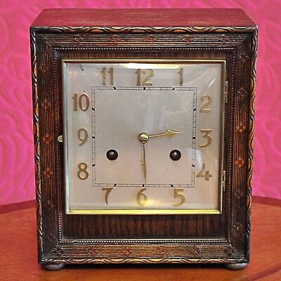 Vintage German Art Deco 8 Day Carved Oak Case Striking Mantel Clock