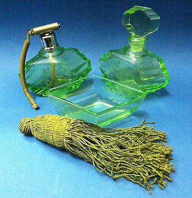 Antique Green Glass Bottle Perfume Set