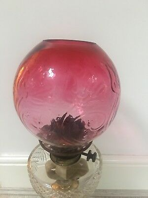 cranberry embossed glass oil lamp shade