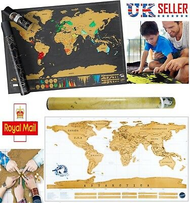 Various Size Scratch Off World Map Poster Personalized Travel Vacation Log Gift