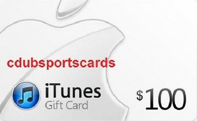 APPLE $100 US iTUNES CARD GIFT CERTIFICATE  - SUPER FAST FREE WORLDWIDE DELIVERY