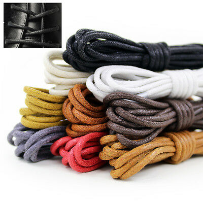 Round Waxed Dress Shoelaces Leather Shoes Strings Boot Sport Shoe Laces Cord NEW