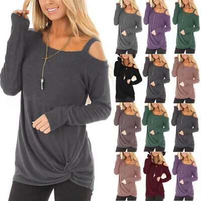 Autumn Ladies Pullover Jumper Tops Womens Sexy Off-Shoulder Solid Colour Blouse