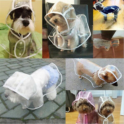 Waterproof Clear Transparent PVC Bunty Dog Puppy Rain Coat Hooded Buckles Poncho
