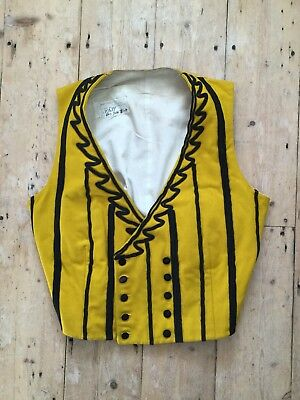 1920s 30s Yellow Black Wool Waistcoat Mathieu et Solatges Paris Theatre Costume