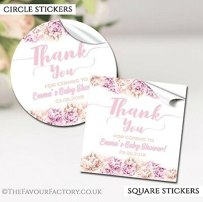 GLOSSY Thank you floral Personalised Baby Shower Party Favours STICKERS labels
