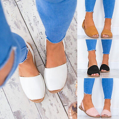 Ladies Women Summer Casual Flats Low Slingback Open Toe Pumps Sandals Shoes Size