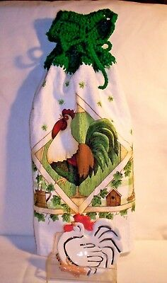 KITCHEN H28 [2 PC]   Rooster Fingertip Towel and Rooster Spoon Rest