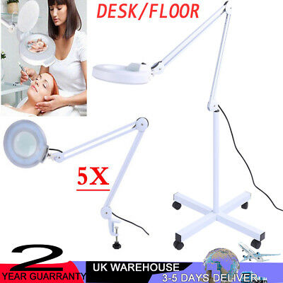 Desk Floor 5X Magnifier Magnifying Lamp  Diopter Light Skincare Beauty Manicure