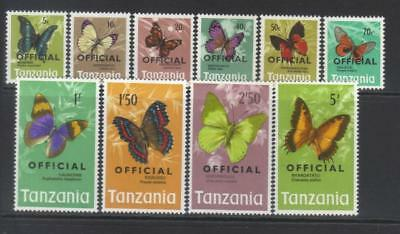 Tanzania 1973 Butterflies Official Mnh Set Of 10