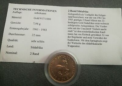 Südafrika South Africa 1973: 2 Rand 8g Goldmünze 916 in ss