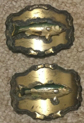 2 VTG STRIPED BASS FISH BELT BUCKLES RAINTREE Buckle & Jewelry Inc. Fishing Fish