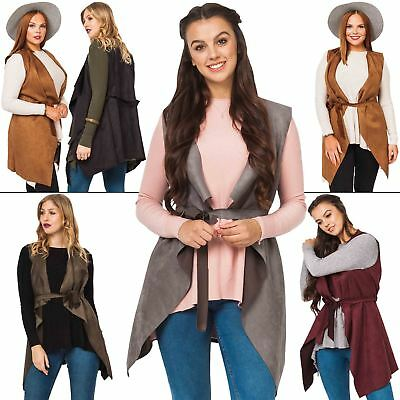 Ladies Jacket Womens Suedette flattering waterfall front Belted Coat Sleeveless