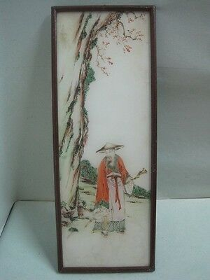 Antique Chinese Reverse Painting on Glass an old man