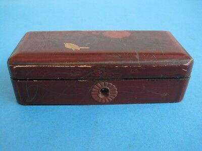 Antique CHINA CHINESE Laquered Box with bird and flower Empty