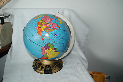 Vintage Metal Globe Ohio Art Tin World Zodiac Base Made in USA