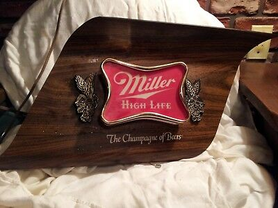 Miller High Life Beer Vintage Wood Grained Plastic Wall Sign, Lighted