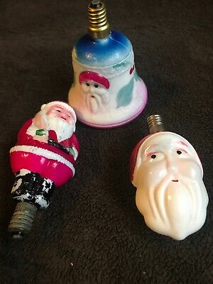 VTG LOT 3 MILK GLASS FIGURAL CHRISTMAS LIGHT BULBS  SANTA Untested