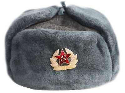 Russian Soviet Army Hat USSR Badge Real Military Fur Soldiers Ushanka 58 60 62