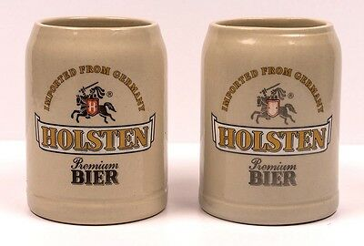 Lot of 2 HOLSTEN Steins Premium Bier Imported From Germany 0.5L