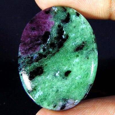 30.40Cts 100% NATURAL RED GREEN RUBY ZOISITE OVAL CABOCHON GORGEOUS!! GEMSTONES