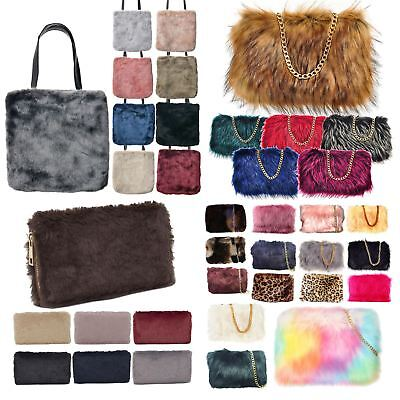 New Ladies Fashion Coloured Synthetic Fur Clutch Tote Bag Purse