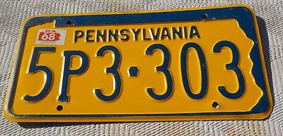 1968 Pennsylvania License plate No Rust State Shape Blue & Yellow