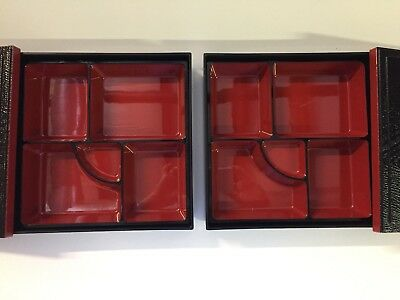 """Set of 2 Authentic Traditional Japanese Lacquered Bento Box w/ Cover 10 x 10"""""""