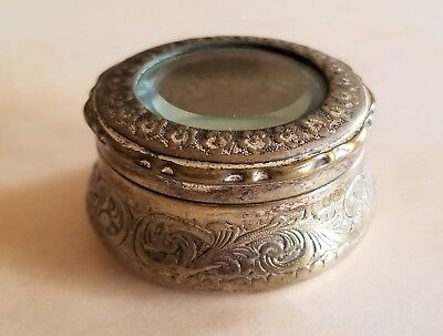 Antique Small Jewelry or Trinket Box Ornate with Beveled Glass Top, Bee Marking