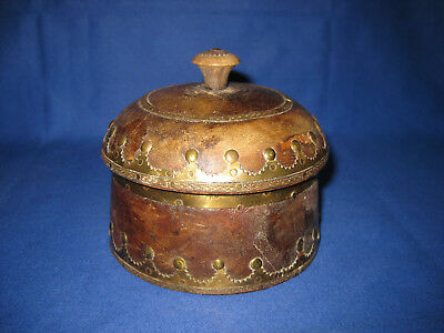 Lovely Antique Asian Wooden Spice Storage Lidded Pot With Brass Banding