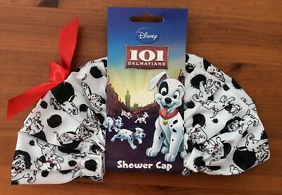 Girls Ladies 101 Dalmatians Pretty Black White With Red Bow  Stretchy Shower Cap